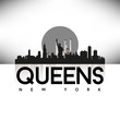 Queens New York USA Skyline Silhouette Black vector