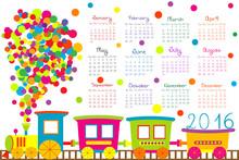 2016 Calendar With Cartoon Tra...