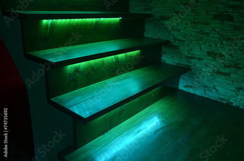 Photo Stands Stairs Illuminated wooden stairs