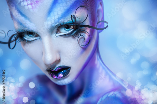 Aluminium Prints Painterly Inspiration Cute young adult girl looking at camera with creative body art a