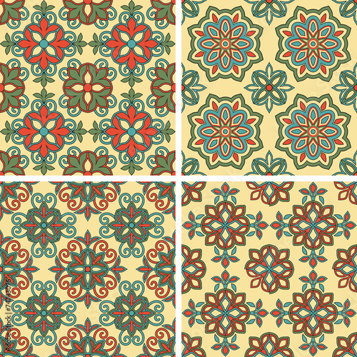 Deurstickers Marokkaanse Tegels Vector Seamless Tile Patterns