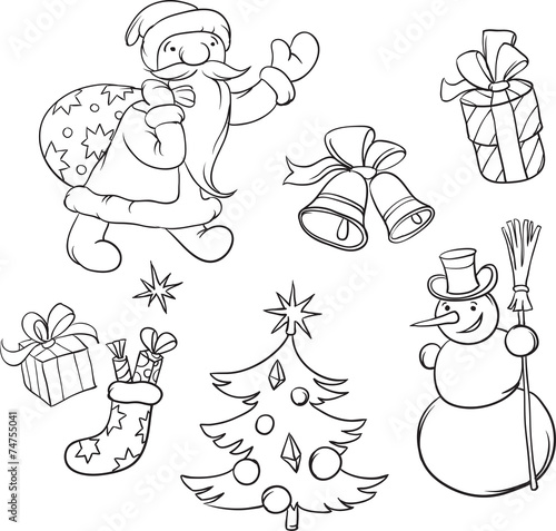 coloring book santa claus and christmas symbols
