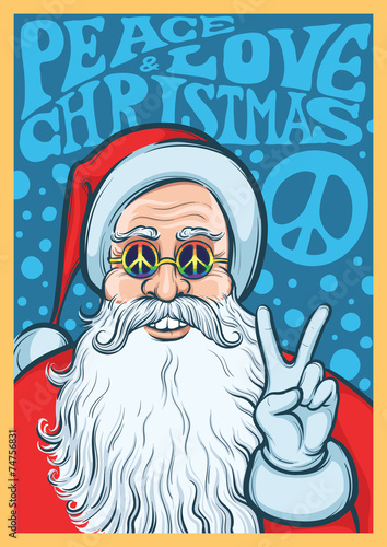 Photo  Christmas Hippie poster with Santa Claus