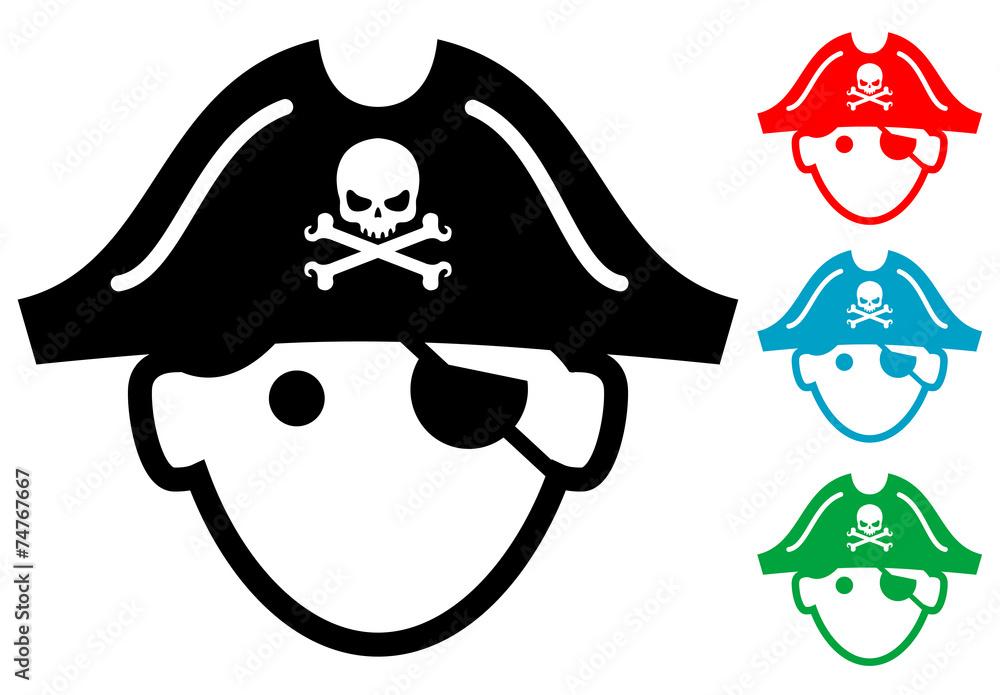 Fototapeta Pictograma icono pirata con varios colores
