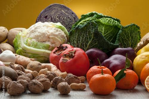 Fotografia, Obraz  Verdure e frutta invernale mista,