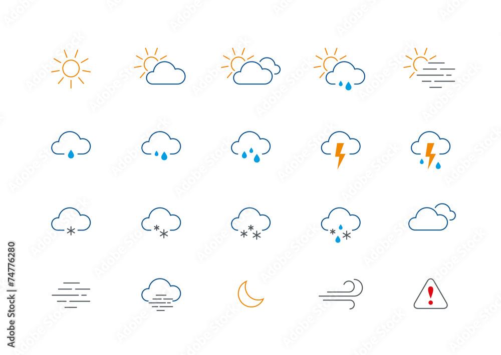 Obraz Thin weather colour icon set fototapeta, plakat