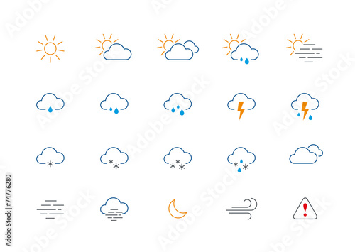 Fototapeta Thin weather colour icon set