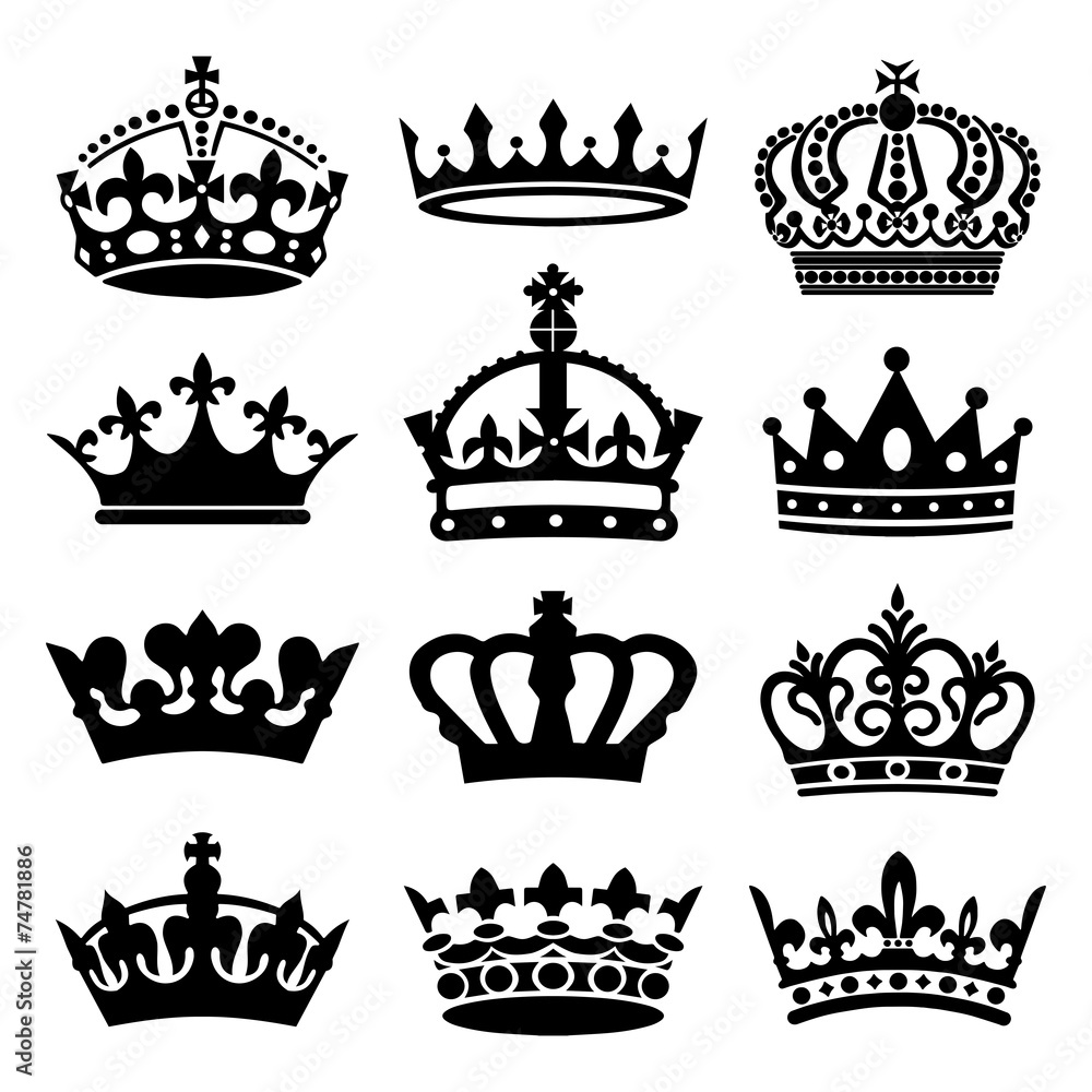 Fototapeta Crown Icons Set