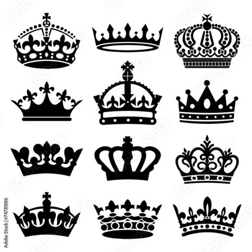 Fotografie, Obraz  Crown Icons Set