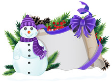 Snowman With Purple Hat And Sc...