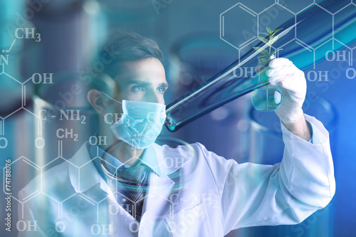 Canvas Print Young scientist working at lab