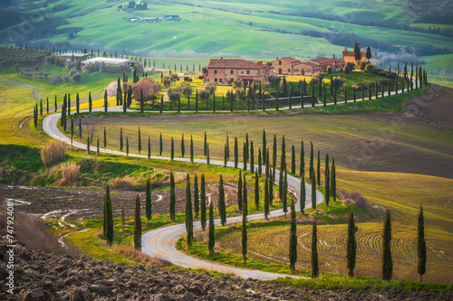 Foto op Canvas Toscane Sunny fields in Tuscany, Italy