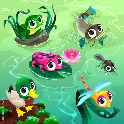 Poster Chambre d enfant Funny animals in the pond