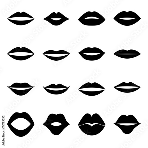 Photographie  Set of lips, vector illustration