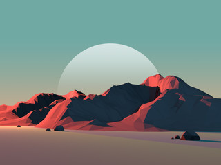 Fototapeta samoprzylepna Low-Poly Mountain Landscape at Dusk with Moon