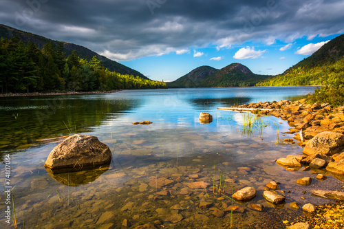 Photo Jordan Pond and view of the Bubbles in Acadia National Park, Mai
