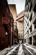 Narrow alley and parking garage in Baltimore, Maryland.