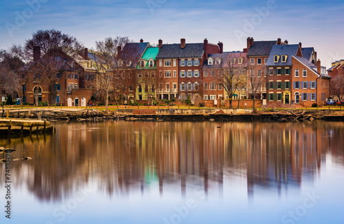 Fotomural Reflections of waterfront buildings along the Potomac River in A