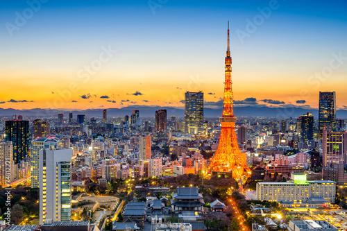 Foto auf AluDibond Tokio Tokyo, Japan Skyline at Tokyo Tower