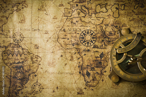 Photo  old map with compass