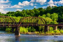 A Railroad Bridge Over The Delaware River In Easton, Pennsylvani