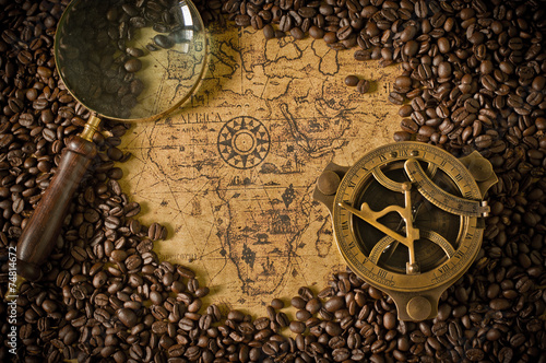 coffee bean  with map Canvas Print