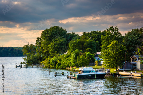 Boats and docks along the Back River in Essex, Maryland. Wallpaper Mural