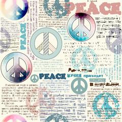 Tapeta Imitation of grunge newspaper with pacific symbols.