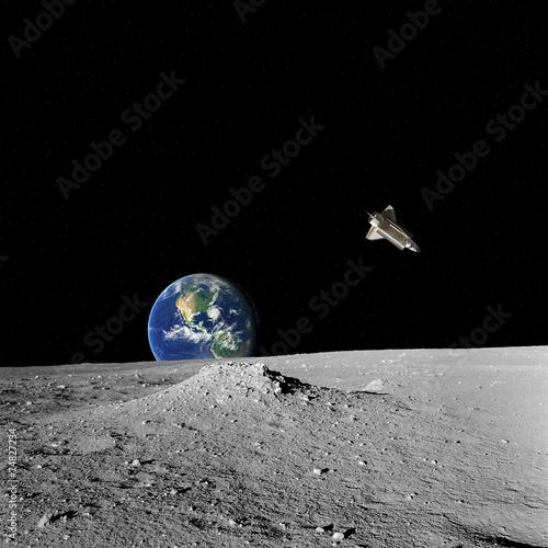 fototapeta na lodówkę Prom kosmiczny, Ziemi i gwiazd widzianych z powierzchni Księżyca.