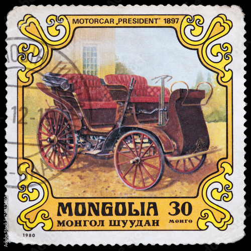 Valokuva  Stamp printed in Mongolia with car