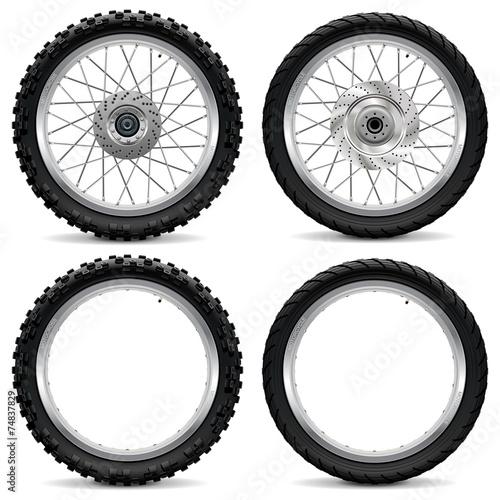 Fotografía  Vector Motorcycle Wheel Icons