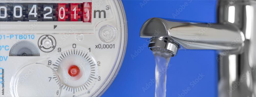 Leinwandbild Motiv - bluedesign : Wasseruhr & Wasserhahn