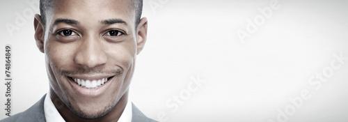 Fototapeta African-American black man face.