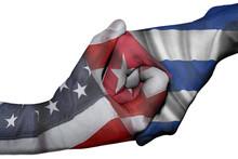 Handshake Between United States And Cuba