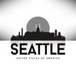 Seattle USA Skyline Silhouette Black vector