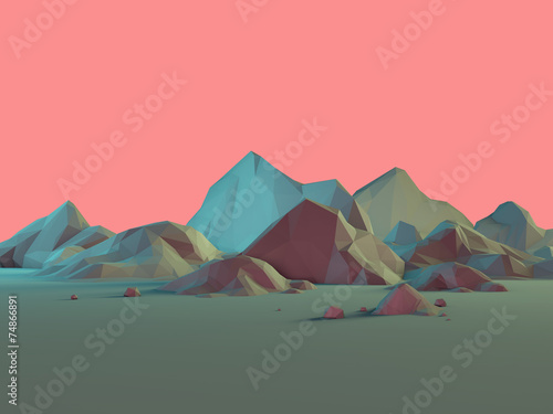 Keuken foto achterwand Khaki Low-Poly 3D Mountain Landscape with Pastels