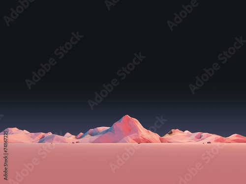 Low-Poly Mountain Landscape at Night