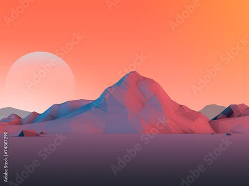 Papiers peints Corail Low-Poly Mountain Landscape with Moon