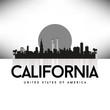 California USA Skyline Silhouette Black vector