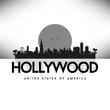 Hollywood USA Skyline Silhouette Black