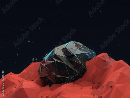 Fotografie, Obraz  Geometric 3d Space Base with Astronauts