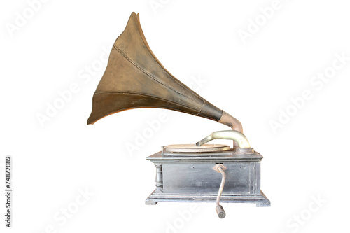 Fotomural Phonograph antique isolate on white background with copy space