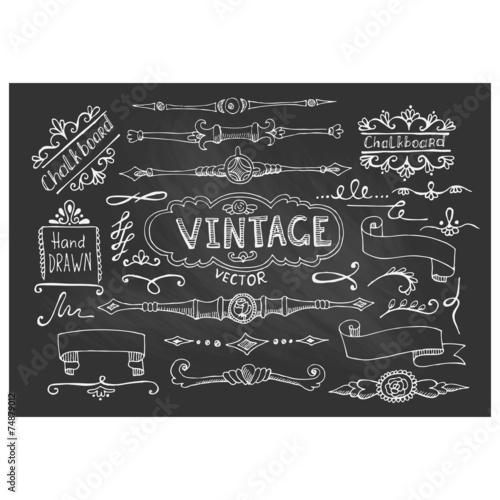 vector illustration of decorative vintage chalkboard elements buy