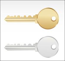 Golden And Silver Keys. Vector