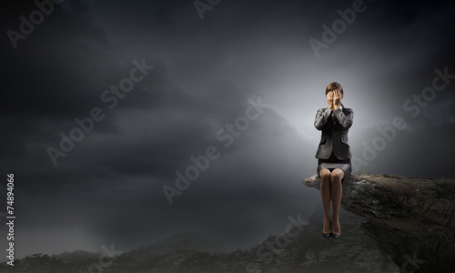 Fotografie, Tablou  Scared businesswoman