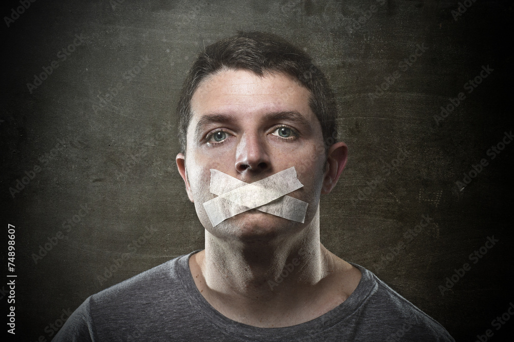 Fototapeta attractive censored man mouth tape sealed freedom speech concept