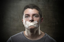 Attractive Censored Man Mouth Tape Sealed Freedom Speech Concept