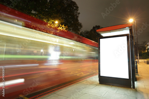 Photo  Blank billboard in bus stop