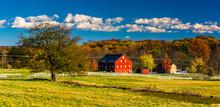 Tree And Barn On The Battlefield At Gettysburg, Pennsylvania.