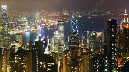 Cuadros en Lienzo Night scene in Hong Kong